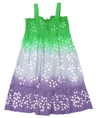 Crokids Movie Star soft green, purple, and white sundress with smocking across the bodice.