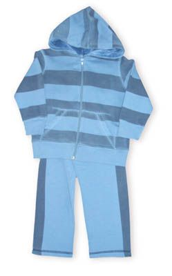 Crokids Muscle Man blue striped hooded zip jacket with pockets and matching pants.