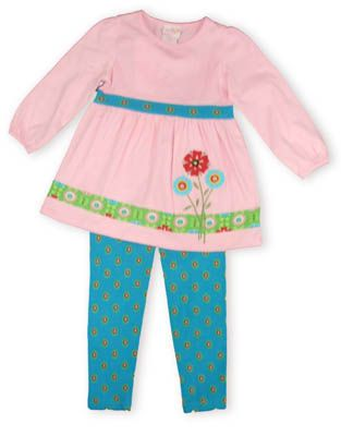 Crokids My First Greenhouse pink top with a flower picture on the front and matching blue patterned leggings.