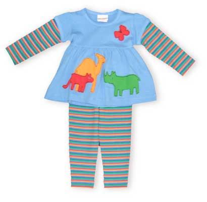 Crokids Noah`s Animals bright blue and multicolor stripe pant set shows animals stepping into a beautiful new day, just like your girl.