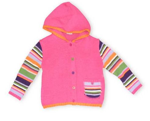 Crokids Pinkberry hooded sweater with multicolor striped sleeves, pocket, and the most darling buttons ever.