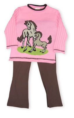Crokids Pony Land pink sweater with two horses on the front and brown yoga pants to accompany it.