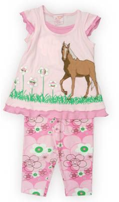 Crokids Pony Park pink shirt with a horse on the front and angel wing sleeves. Also comes with matching capris. Great for your horse lover.
