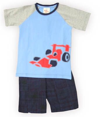 Crokids Race Time blue and gray shirt with a racecar on the front and patchwork shorts. Comfortable and great to wear to school and play.