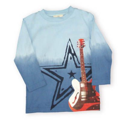 Crokids Rockstar soft tee shirt with a light blue that fades into a darker shade of blue. It has an electric guitar and star picture on the front.