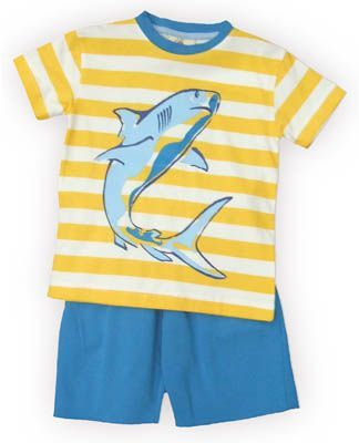 Crokids Shark Sighting yellow and white striped shirt with a shark on the front and matching blue shorts. Very comfortable.
