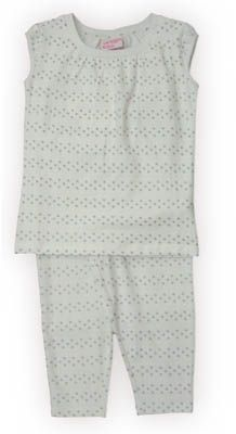 Crokids Silver Star white shirt with dots across the shirt and matching capris. Very comfortable for your fashion queen.
