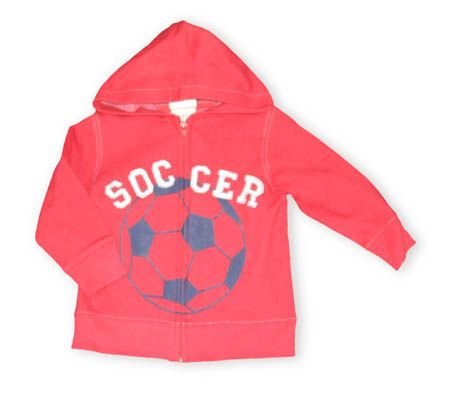 Crokids Soccer Star red hooded zip jacket with a soccer ball on the front and the word soccer.