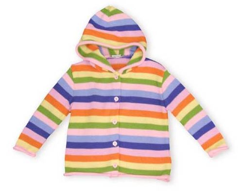 Crokids Stripes Forever hooded, knit, button up cardigan with multicolored stripes all over is sure to brighten up her day.