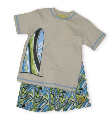 Crokids Surfboard Jungle white shirt with blue trim with a surfboard picture on it and matching surfboard swimtrunks.