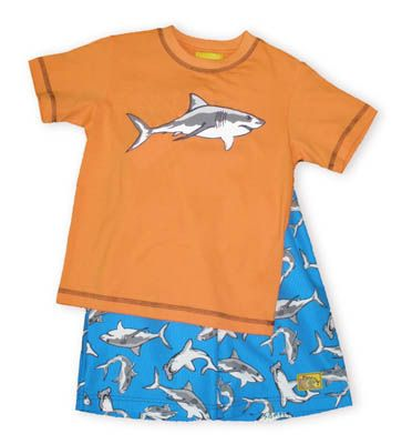 Crokids Swimming with the Sharks soft orange shirt with a shark and cute matching turquoise swimtrunks with a shark print.