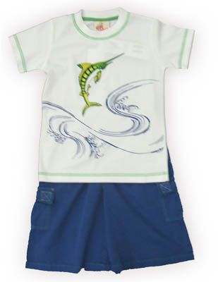 Crokids Swordfish Prize white shirt with a swordfish on the front and matching blue cargo shorts. Very fun and great for your boy.