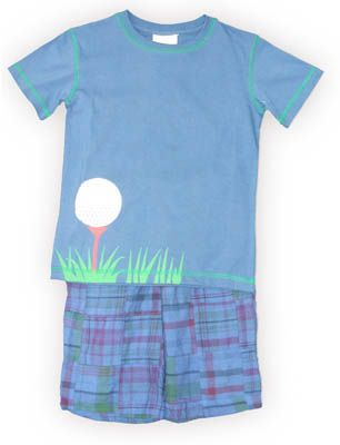 Crokids Tee Time blue shirt with a gold ball on a tee and matching overdyed patchwork shorts. Comfortable and great to wear to school and play.
