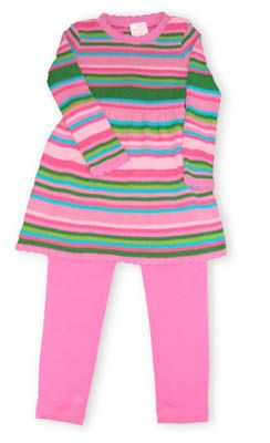 Crokids Unending Stripes multicolored striped dress with pink leggings.