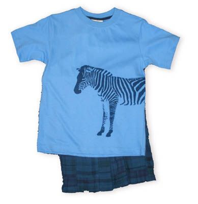 Crokids Zebra blue shirt with a zebra picture and matching soft plaid patchwork shorts.