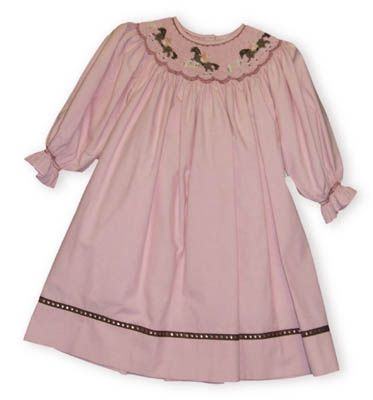 Cupcakes Originals Girls Love Horses rose cotton oxford cloth bishop dress with horses smocked on it.