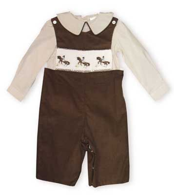 Cupcakes The Horse Ride boys longall of a brown very fine soft cotton corduroy with horse smocking and matching shirt with piping. Absolutely beautiful and of the finest quality.
