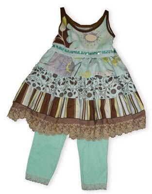 Danica and Dylan Peyton fun legging set with sleeveless short dress with sequins, tiers, and lace and matching aqua leggings.