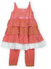 Danica and Dylan Sweetheart coral colored babydoll tiered dress with sequence and matching leggings. Super cute and stylish.