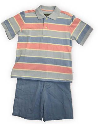 E Land Jayden handsome striped polo shirt and matching blue shorts. Very comfortable and holds up well for the boys who love to play hard.