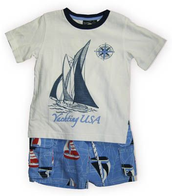 E Land Yachting USA white shirt with a yacht on it and matching swimtrunks. Very cute and great for the beach, pool, lake, and many other water activities.