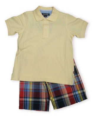Eland Classic Boys light yellow pique knit polo shirt with red,yellow and blue plaid shorts.