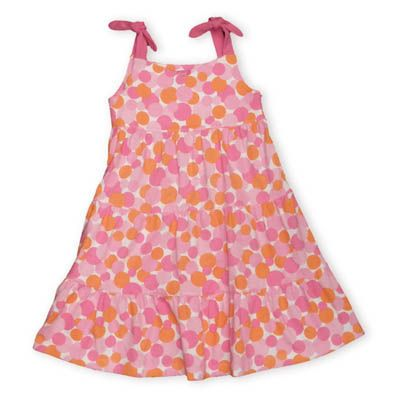 Eland Ice Cream Dottie Dots fuchsia and orange dot print on a soft knit tiered cotton dress that ties on the shoulder.