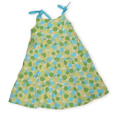 Eland Ice Cream Dottie Dots lime and turquoise dot print on a soft knit tiered cotton dress that ties on the shoulder.