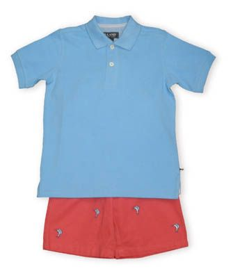 Eland Outer Banks blue pique knit polo shirt with coral shorts with blue swordfish embroidery.