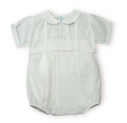 Feltman Brothers baby boy clothes soft white one piece bubble with tiny tucks. These are just like the old fashioned outfits and are so adorable on the baby.