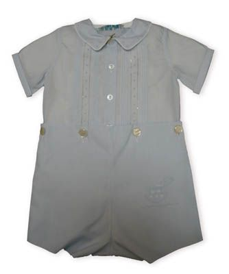 Feltman Brothers Benjamin baby boy clothes soft blue two piece that buttons at the waist with pintucks on the top and delicate stitching that befits this classic look.