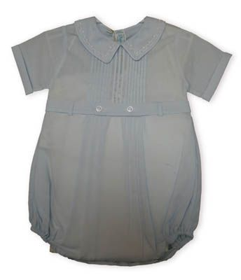 Feltman Brothers Jonathan baby boy clothes soft blue one piece with pintucks on the top and delicate stitching that befits this classic look.
