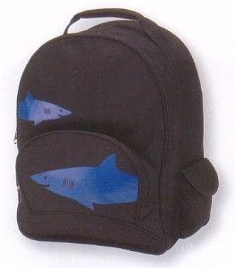 Four Peas Big Shark big kids backpack has two way cool blue sharks swimming across the front. Padded, adjustable straps. Two side pockets have magnetic closures. Front pocket has pencil slots.