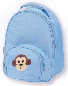 Four Peas Blue Monkey backpack, sized perfectly for your toddler, features the cutest monkey on the front pocket. Padded, adjustable straps.