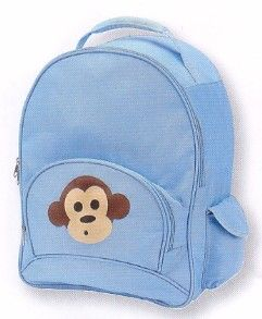 Four Peas Blue Monkey big kids backpack features the cutest monkey on the front pocket. Padded, adjustable straps. Two side pockets have magnetic closures. Front pocket has pencil slots.
