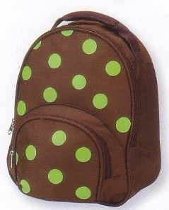 Four Peas Polka Dot backpack, perfectly sized for your toddler, features bright lime dots all over the chocolate background. Padded, adjustable straps.