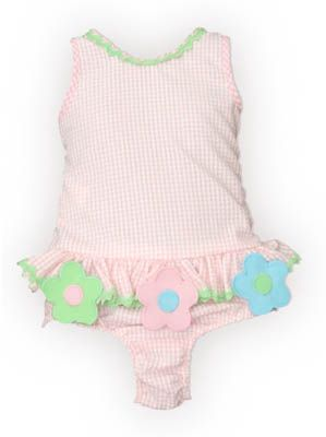 Funtasia Too A Flower for You pink and white checked one piece seersucker swimsuit with three flowers and ruffle. Super cute and matches the coverup and towel.