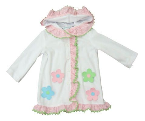 Funtasia Too A Flower for You white velor coverup with four flowers and ruffle. Super cute and matches the swimsuits.