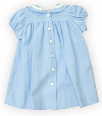 Funtasia Too `Ahoy Mate` blue sailor float dress with a sailor collar that buttons downs the front. Classic and matches the boys.
