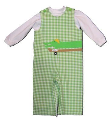 Funtasia Too Alligator Skate Part green and white checked longall with skateboarding alligator on the front and a white turtleneck. So soft and comfortable.