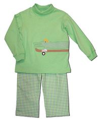 Funtasia Too Alligator Skate Part green turtleneck with a skateboarding alligator on the front and green and white checked pants. So soft and comfortable.