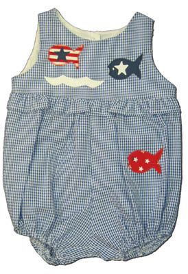 Funtasia Too America`s Pastime navy checked seersucker bubble with three fish on the front. Cute and matches the boys.