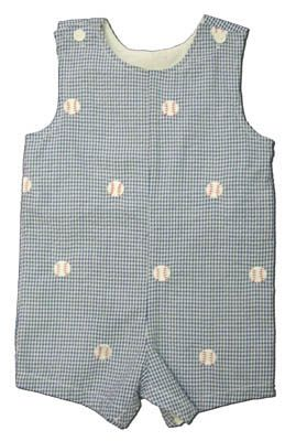 Funtasia Too America`s Pastime navy checked seersucker shortall with embroidered baseballs. Great for your little shortstop.