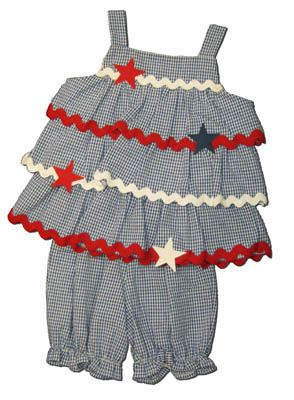 Funtasia Too America`s Pastime navy checked seersucker tiered popover set with ric rac and stars. Cute and festive.