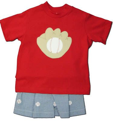 Funtasia Too America`s Pastime short set with a baseball glove and ball on the front and navy checked seersucker shorts with embroidered baseballs. Extremely cute for your little home run hitter.