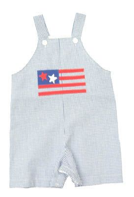 Funtasia Too American Love baby boy clothes blue and white seersucker shortall with flag on the front. Very cute, comfortable, and matches the girls.