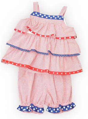 Funtasia Too American Love red and white checked seersucker popover set with three tiers on the top and star ribbon. Very cute and comfortable. Matches the boys.