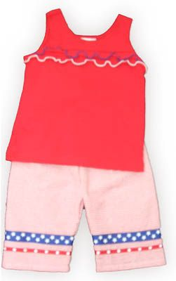 Funtasia Too American Love soft red top with ruffles and matching red and white checked capris. Very cute and a comfortable everyday outfit.