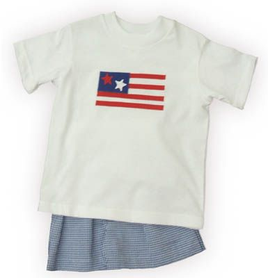 Funtasia Too American Love white shirt with a flag on the front and matching blue and white seersucker shorts. Very cute, comfortable, and matches the girls.