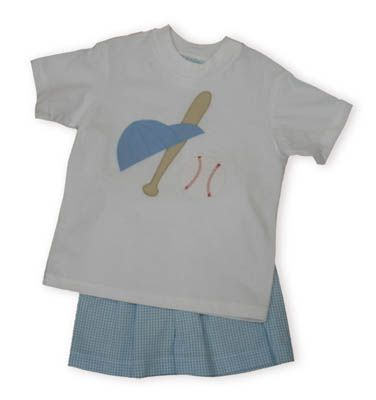 Funtasia Too Andy`s Homerun Hit white cotton shirt with baseball, baseball hat, and baseball bat with matching blue and white checked shorts.